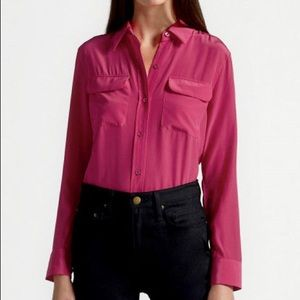 CLASSY PURPLE SILK EQUIPMENT FEMME POCKET BLOUSE